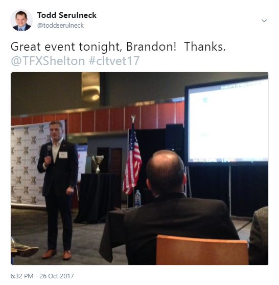 From @toddserulneck - Great event tonight, Brandon! Thanks. @TFXShelton #cltvet17