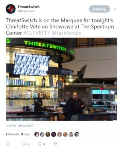 From @threatswitch - ThreatSwitch is on the Marquee for tonight's Charlotte Veteran Showcase at The Spectrum Center #CLTVET17 @taskforcex