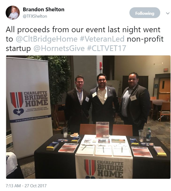 From @TFXShelton - All proceeds from our event last night went to @CltBridgeHome #VeteranLed non-profit startup @HornetsGive #CLTVET17