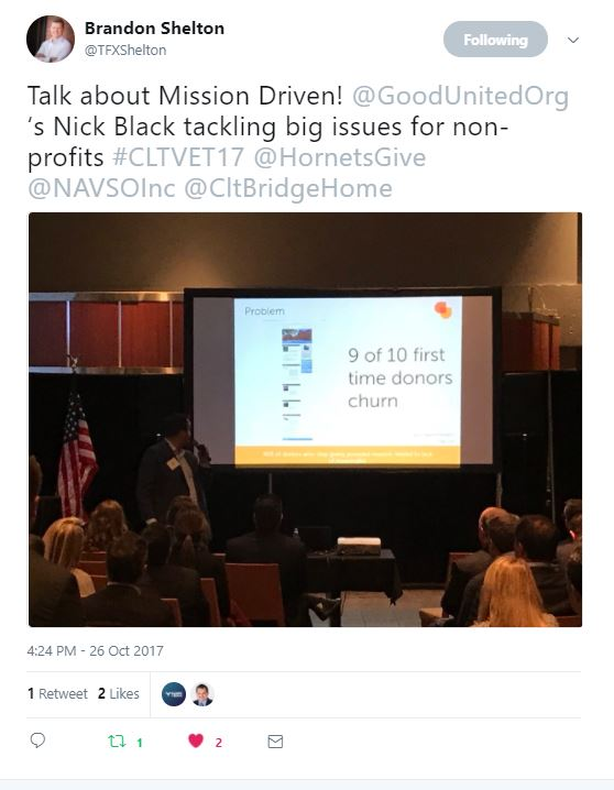 From @TFXShelton – Talk about Mission Driven! @GoodUnitedOrg's Nick Black tackling big issues for non-profits #CLTVET17 @HornetsGive @NAVSOInc @CltBridgeHome