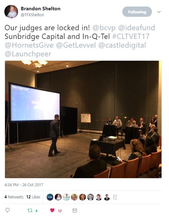 From @TFXShelton - Our judges are locked in! @bcvp @ideafund Sunbridge Capital and In-Q-Tel #CLTVET17 @HornetsGive @GetLevvel @castledigital @Launchpeer