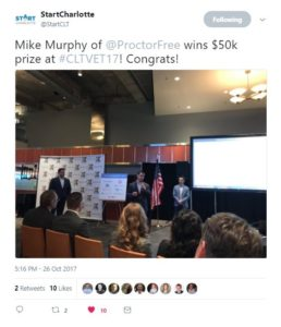 From @StartCLT - Mike Murphy of @ProctorFree wins $50k prize at #CLTVET17! Congrats!