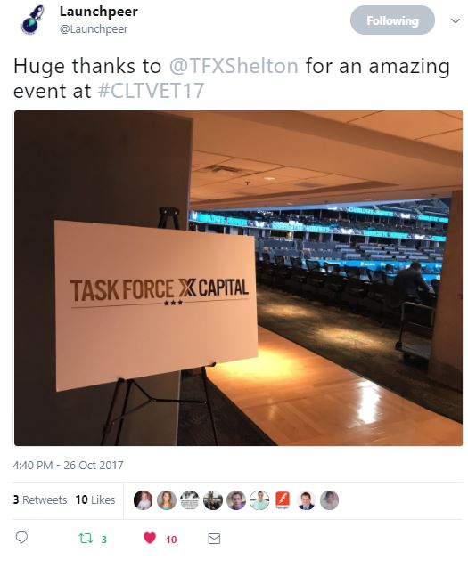 From @Launchpeer - Huge thanks to @TFXShelton for an amazing event at #CLTVET17